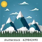 summer mountain landscape with... | Shutterstock .eps vector #629842490