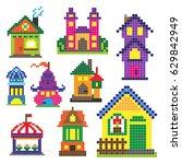 set of different pixel toy... | Shutterstock .eps vector #629842949