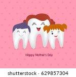 cute cartoon tooth family.... | Shutterstock .eps vector #629857304