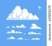 clouds set  pixel art style... | Shutterstock .eps vector #629858270