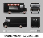 Black Food Truck Hi-detailed vector template for Mock Up Brand Identity. Realistic Delivery Service Vehicle isolated on grey background for Advertising design. Black Classic Truck. Fast-food Van | Shutterstock vector #629858288