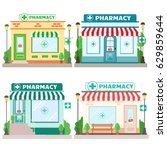 set of facade pharmacy stores... | Shutterstock .eps vector #629859644