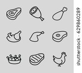 roast icons set. set of 9 roast ...   Shutterstock .eps vector #629860289