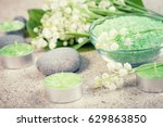 accessories for spa. lily of... | Shutterstock . vector #629863850