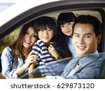 happy asian family with two... | Shutterstock . vector #629873120