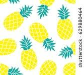 pineapple vector background.... | Shutterstock .eps vector #629880464