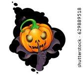 jack o'lantern making the hush...   Shutterstock .eps vector #629889518