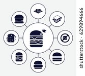 hamburger icons set. set of 9... | Shutterstock .eps vector #629894666