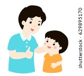 dad admires his son character... | Shutterstock .eps vector #629895170