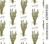 savory herb seamless pattern  ... | Shutterstock . vector #629899283