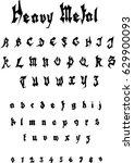 heavy metal font   vector | Shutterstock .eps vector #629900093