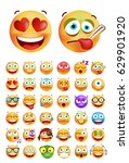 set of cute emoticons on white... | Shutterstock .eps vector #629901920