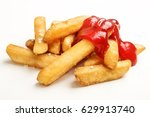 junk food  french fries with... | Shutterstock . vector #629913740