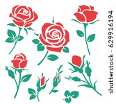 Stock vector set of decorative red rose silhouette with green leaves vector illustration flower icon 629916194