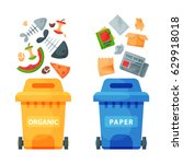 recycling garbage elements... | Shutterstock .eps vector #629918018