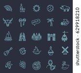 spain traditional symbols set.... | Shutterstock .eps vector #629918210
