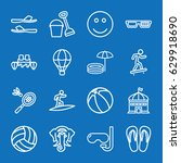 set of 16 fun outline icons... | Shutterstock .eps vector #629918690