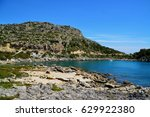 ladiko beach at rhodes island ... | Shutterstock . vector #629922380