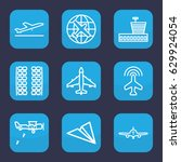 airplane icon. set of 9 outline ... | Shutterstock .eps vector #629924054