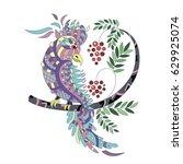 beautiful paradise bird on a...   Shutterstock . vector #629925074