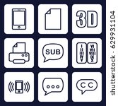 text icon. set of 9 outline... | Shutterstock .eps vector #629931104