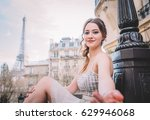 attractive girl in white dress... | Shutterstock . vector #629946068