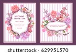 colorful wedding invitation... | Shutterstock .eps vector #629951570