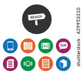 set of 9 text filled icons such ... | Shutterstock .eps vector #629953310