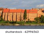 Granaries of Grudziadz at Wisla river in Poland - stock photo