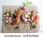 delicious selection of toasts... | Shutterstock . vector #629965886