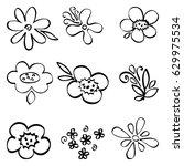 vector set of doodle cute... | Shutterstock .eps vector #629975534