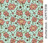 cute doodle seamless pattern of ... | Shutterstock .eps vector #629975558