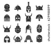 Warrior Helmets Set Of Vector...