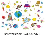 set of drawings space   Shutterstock .eps vector #630002378