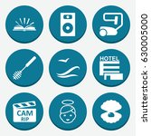 set of 9 element filled icons...   Shutterstock .eps vector #630005000