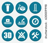 set of 9 industry filled icons... | Shutterstock .eps vector #630009998