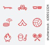 leisure icon. set of 9 leisure... | Shutterstock .eps vector #630011324