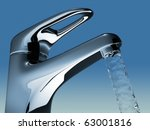 Bathroom faucet flowing water - 3d render illustration - stock photo