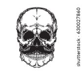 vector face of skull with... | Shutterstock .eps vector #630027860