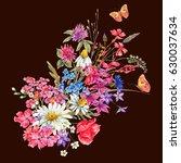 watercolor natural summer... | Shutterstock . vector #630037634
