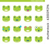 set of frog emoticons with... | Shutterstock .eps vector #630039296
