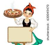 girl with great freshly baked... | Shutterstock . vector #630045470