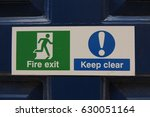 fire exit   keep clear   a sign ... | Shutterstock . vector #630051164