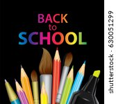 a set of multi colored school... | Shutterstock .eps vector #630051299