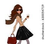 fashionable cute girl in cravat ...   Shutterstock .eps vector #630054719