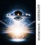 ufo 3d rendering | Shutterstock . vector #630056159