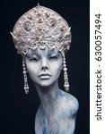 mannequin in creative  crown... | Shutterstock . vector #630057494