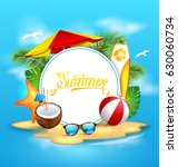 summer background with sea ... | Shutterstock . vector #630060734