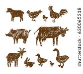 farm hand drawn animals.vector... | Shutterstock .eps vector #630065318