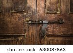 Closed Old Vintage Wood Door...